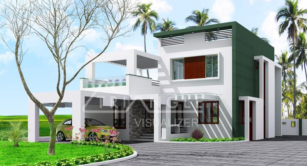 Low Cost Contemporary Kerala Home Design At 2000 Sq.ft