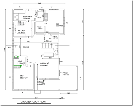 floor plan of Three bedroom kerala Villa Plan 3189 squarefeet plan