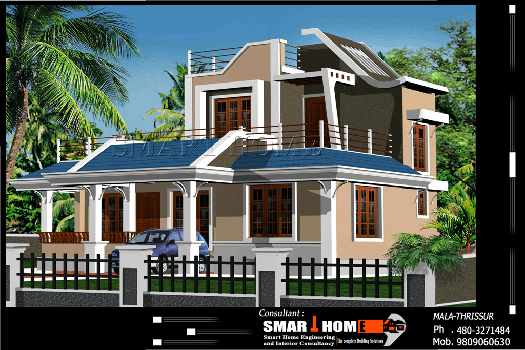 Modern 3 bhk kerala home design at 1610 for Home design pictures