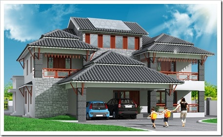 Modern traditional house design kerala