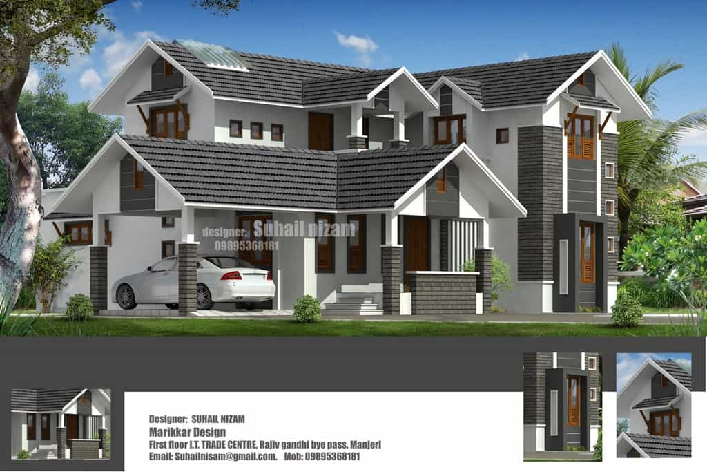 Modern kerala villa elevation at 2678 for Modern villa plans and elevations