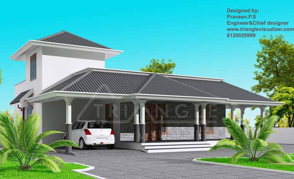 stylish kerala home design at 1860 sqft - Stylish Home Designs
