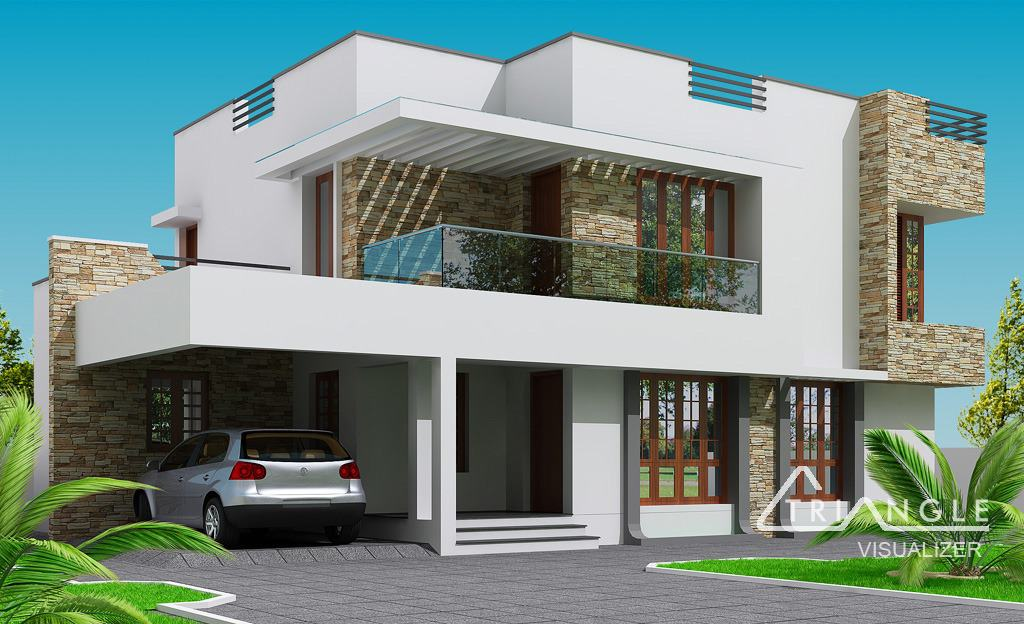 Modern kerala home design at 2300 for Modern 2 story home plans