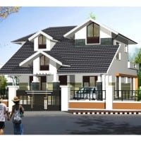 contemporary style 2125 sqft beautiful Home 3D views - Floor plan  3d view