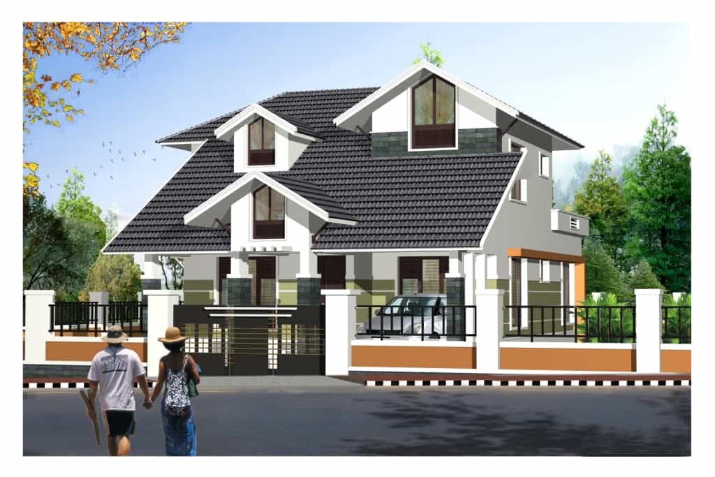 ... style 2125 sqft beautiful Home 3D views - Floor plan 3d view