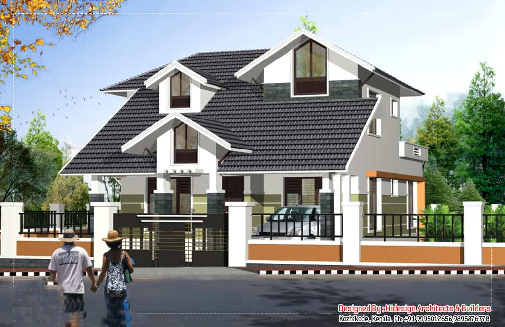 Two Storey Sloping Roof House With Plan 2125 Sq Ft