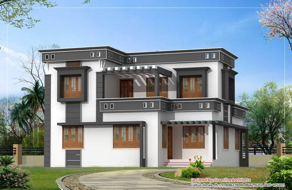 contemporary kerala house plans   KeralaHousePlannerModern Kerala House Plan at sq ft