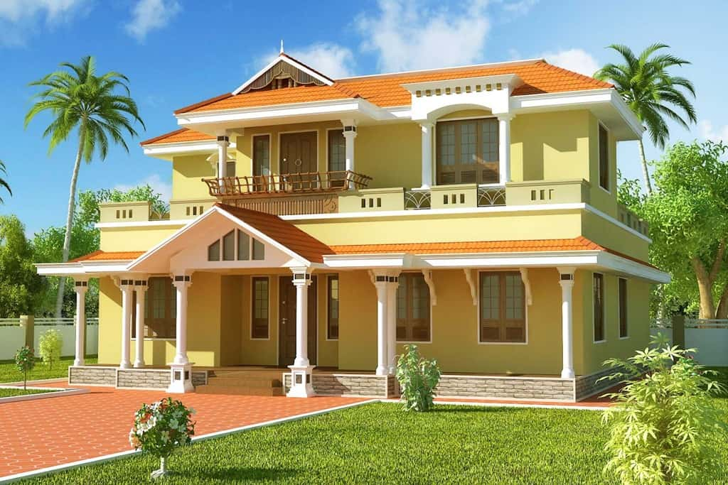 Kerala home design latest elevation at 2550 for Big beautiful houses