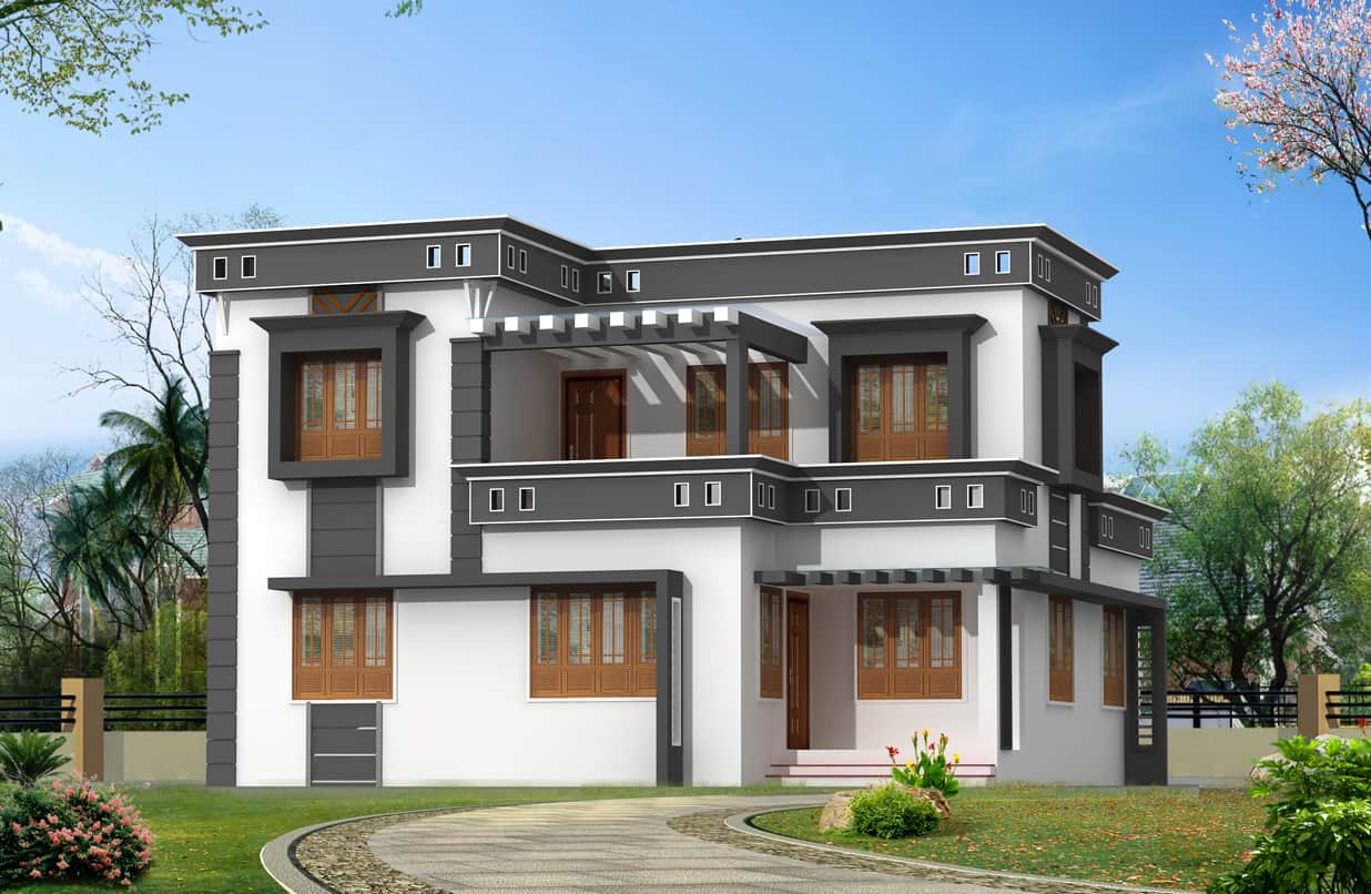 ... elevation1 kerala home design ( Contemporary style ) at 1760 sq.ft