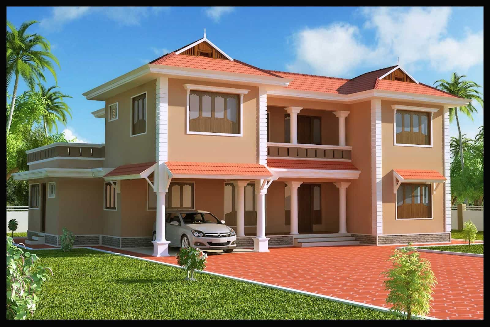 Indian Home Design: Duplex Kerala Home Design At 2618 Sq.ft