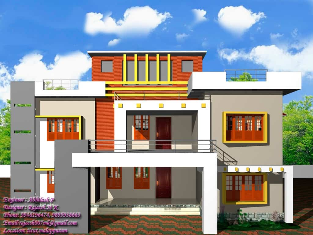 Kerala home design contemporary style at 2400 Indian modern home design images
