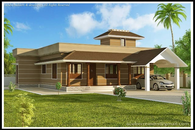 Kerala home design single story house at 1400 for Kerala style single storey house plans