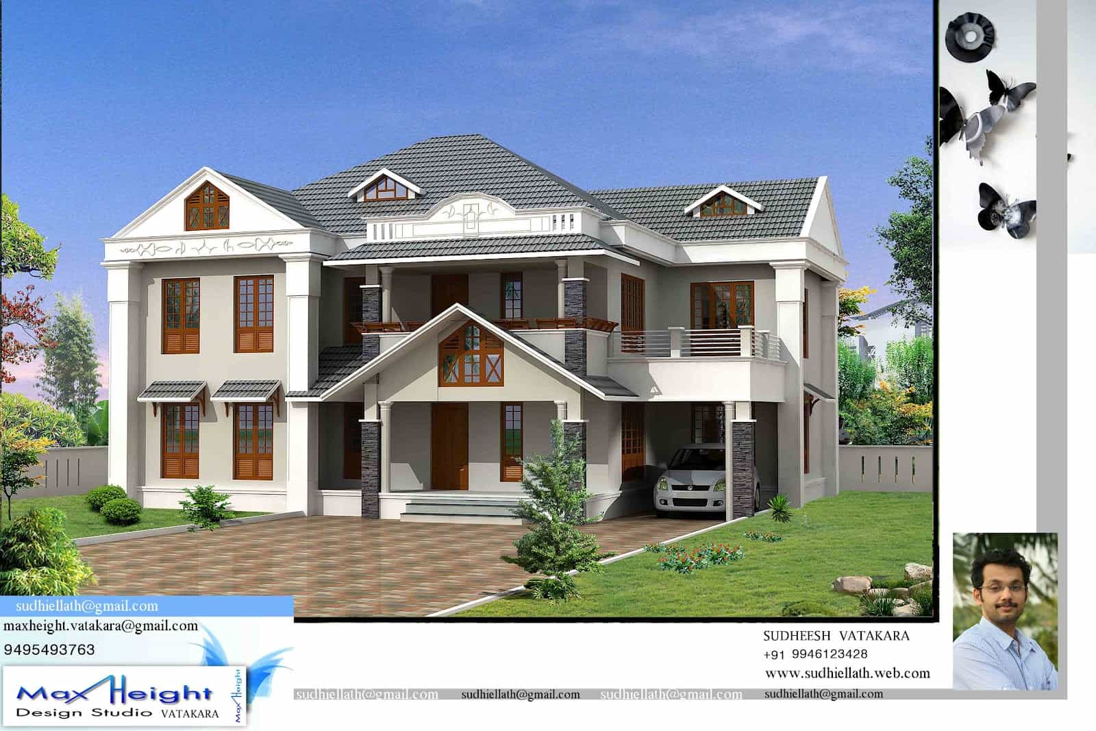 Single storey kerala house model with kerala house plans for New home designs kerala