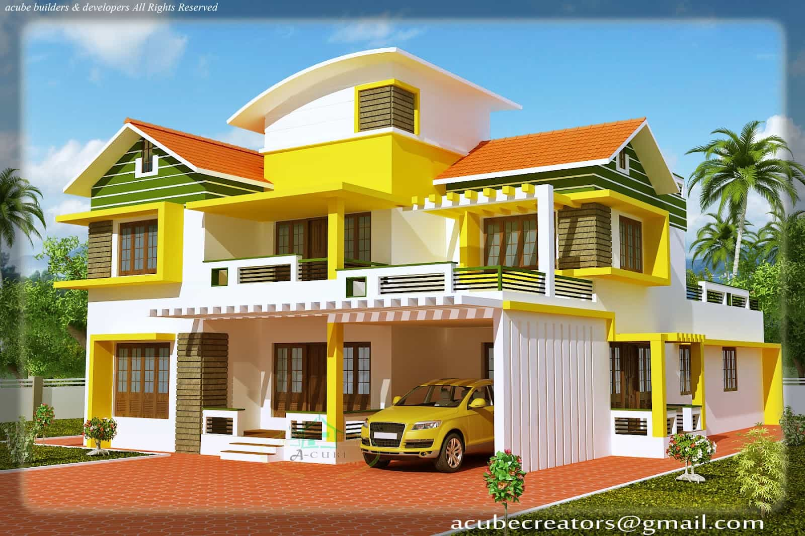 Kerala house model- Duplex house elevation at 2700 sq.ft