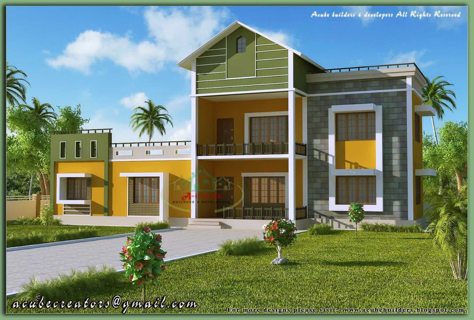 Kerala home model sloping roof house elevation at 1700 for Model house design with floor plan