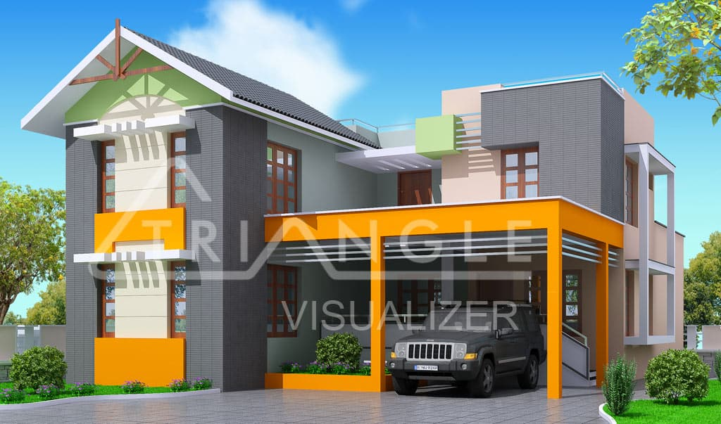 Modern trendy Kerala home design at 2000 sqft