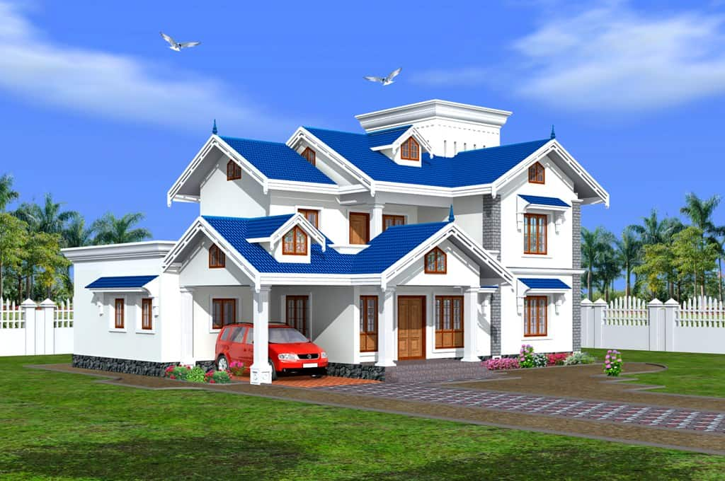 Kerala home bungalow design at 3450 for Indian bungalow house designs