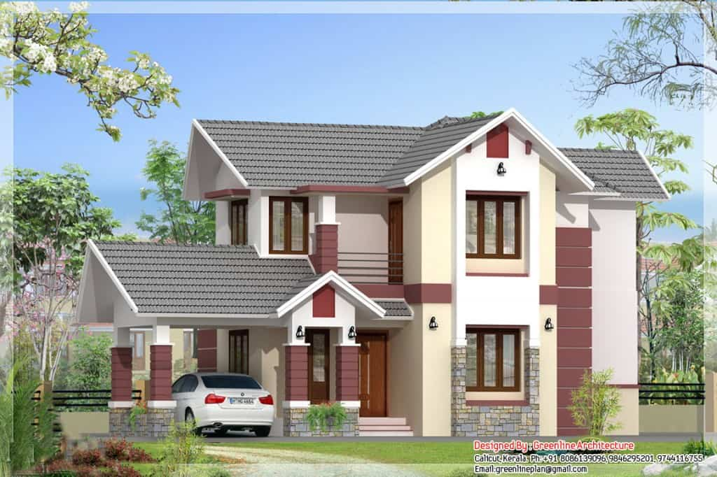 kerala elevation house 1024x682 Modern 3 bedroom Kerala  house plan at 1700 sq.ft