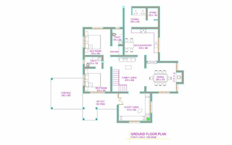 Simple 2 bedroom house plans kerala style escortsea for House plan kerala style free download