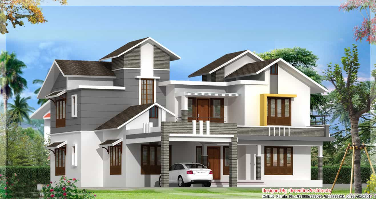Modern kerala home design at 3075 new design for New model house plan