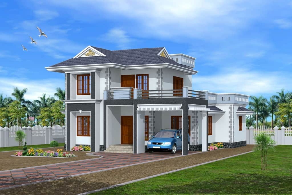 3d exterior house design Kerala 1024x684 3 bedroom 3D exterior House design at 1845 sq.ft