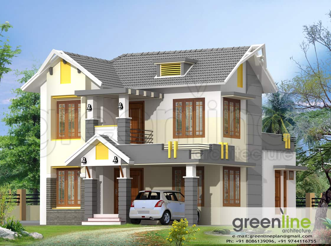 Kerala house model at 1650 - Kerala exterior model homes ...