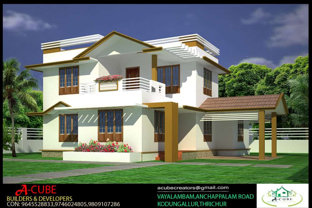 3bhk 3 8 keralahouseplanner for Simple kerala home designs
