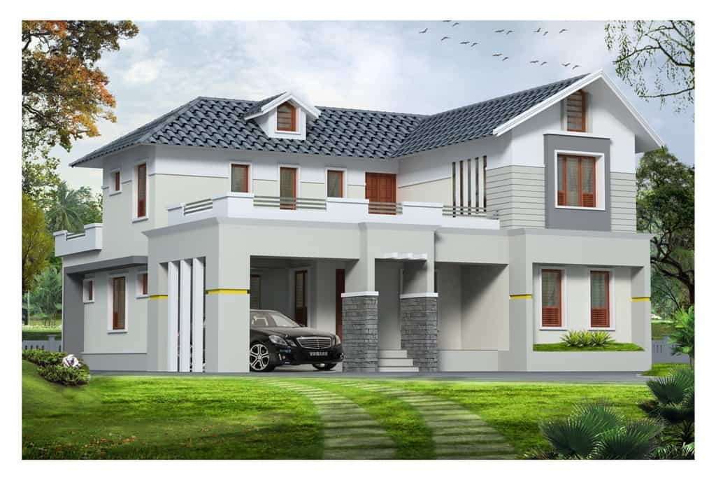 Western style exterior house design kerala at 1890 for Good house photos