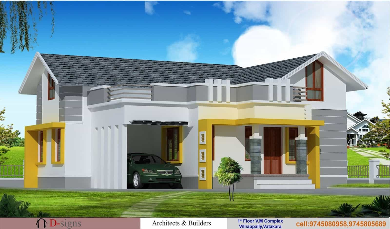Single floor kerala house elevation at 1200 for Elevation of kerala homes