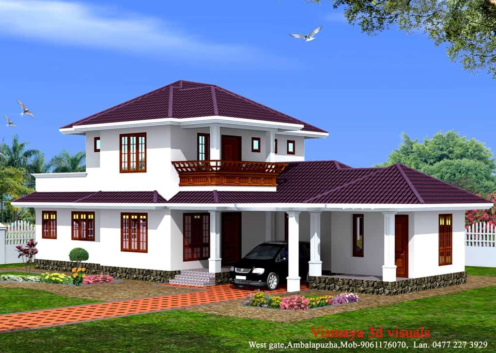 3 bedroom kerala home design at 1873 for Three bedroom house plans kerala style