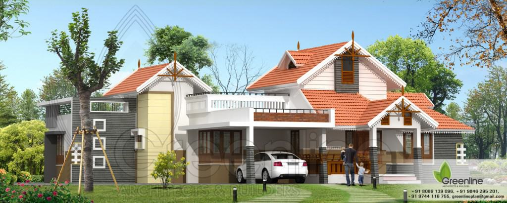 Traditional single floor kerala house elevation at 1900 for 1900 sq ft house plans kerala