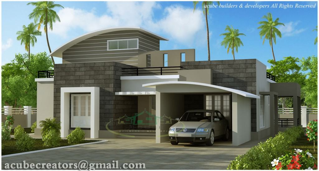 3 bhk kerala house plan 1024x549 Contemporary modern Kerala house plan at 2476 sq.ft