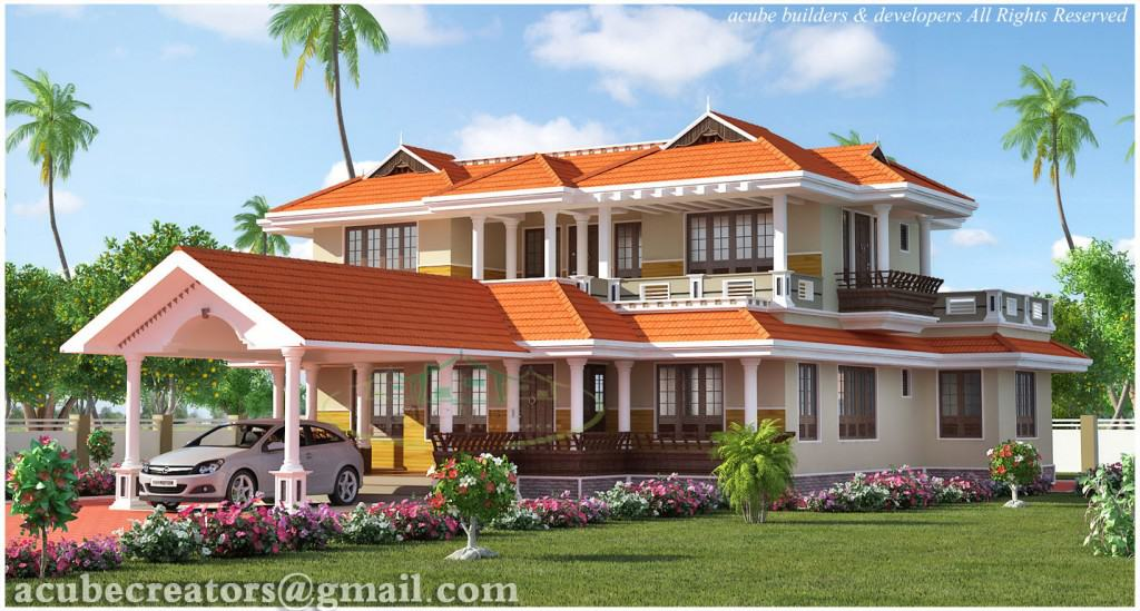 4 Bedroom Kerala Style House 1024x549 Kerala house plan latest at 2847 sq.ft