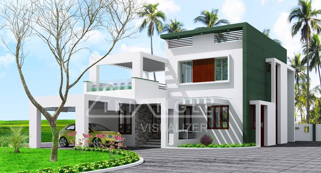 Modern contemporary kerala house elevation at 1950 for Contemporary home elevations