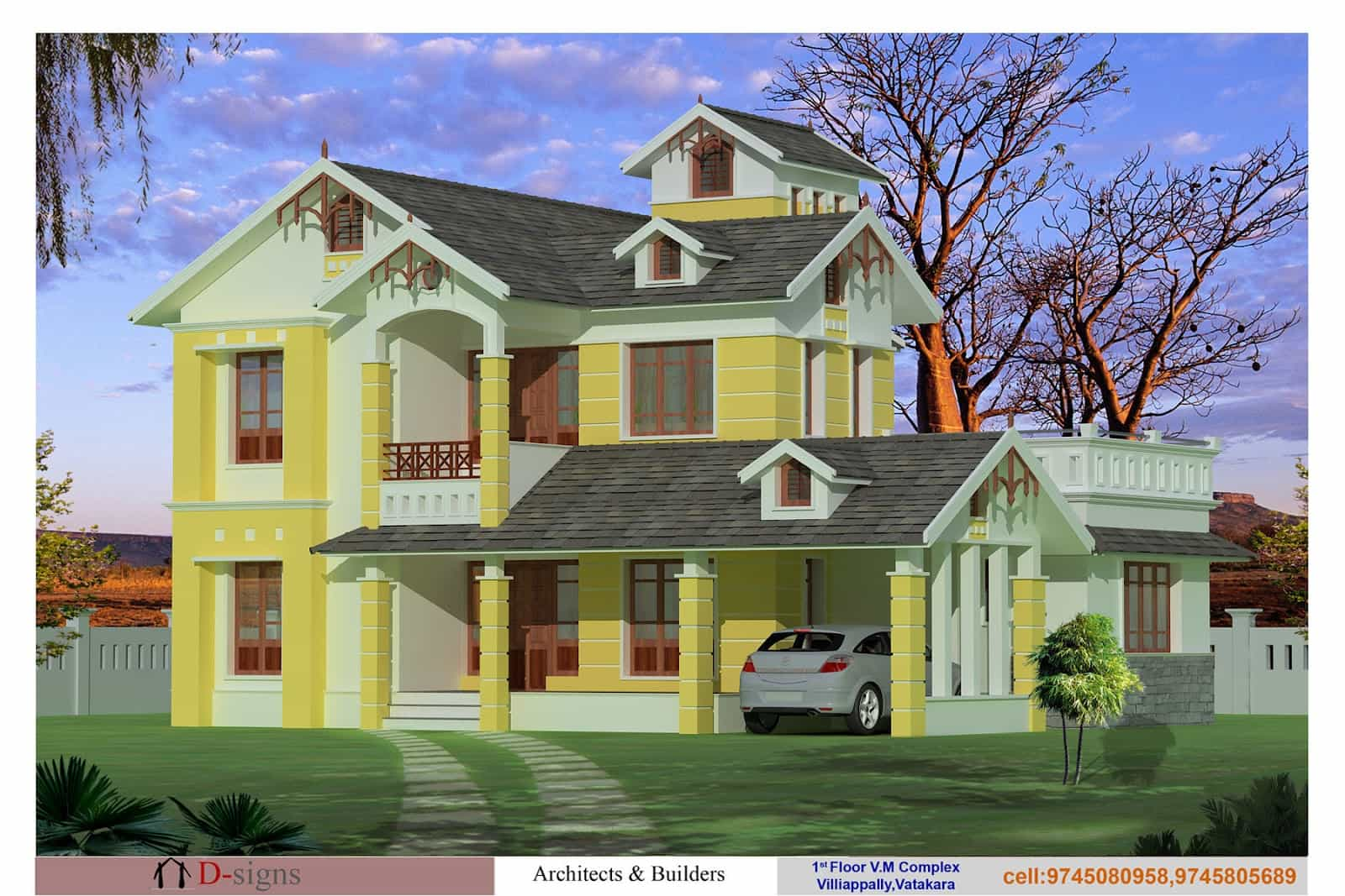 Kerala home plan small house elevation at 1560 sq.ft