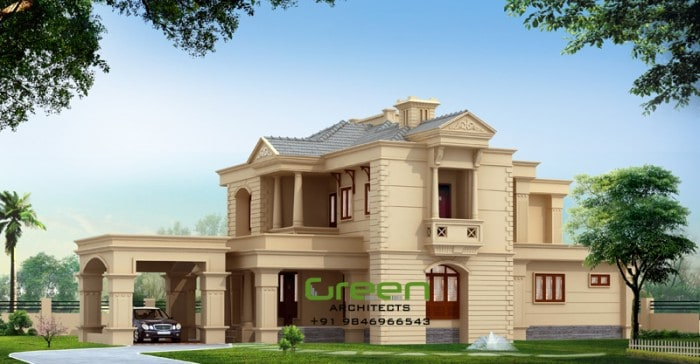 Colonial style modern house elevation at 2500 for Colonial style house plans kerala