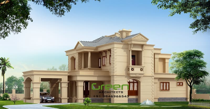 Colonial style modern house elevation at 2500 for 2500 sq ft house plans in kerala