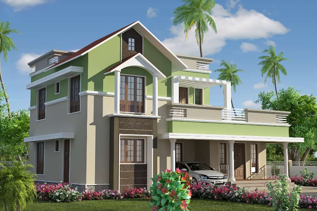 dual roof awesome kerala house design at 1785 sqft