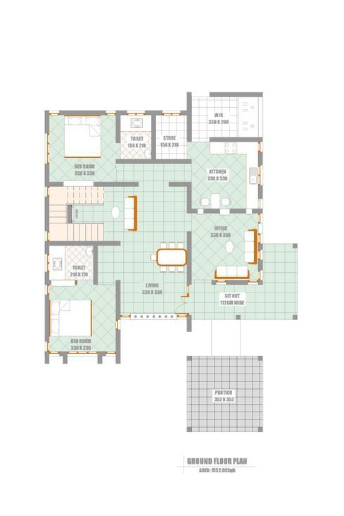Unique Elevation With Kerala House Plan At 2300