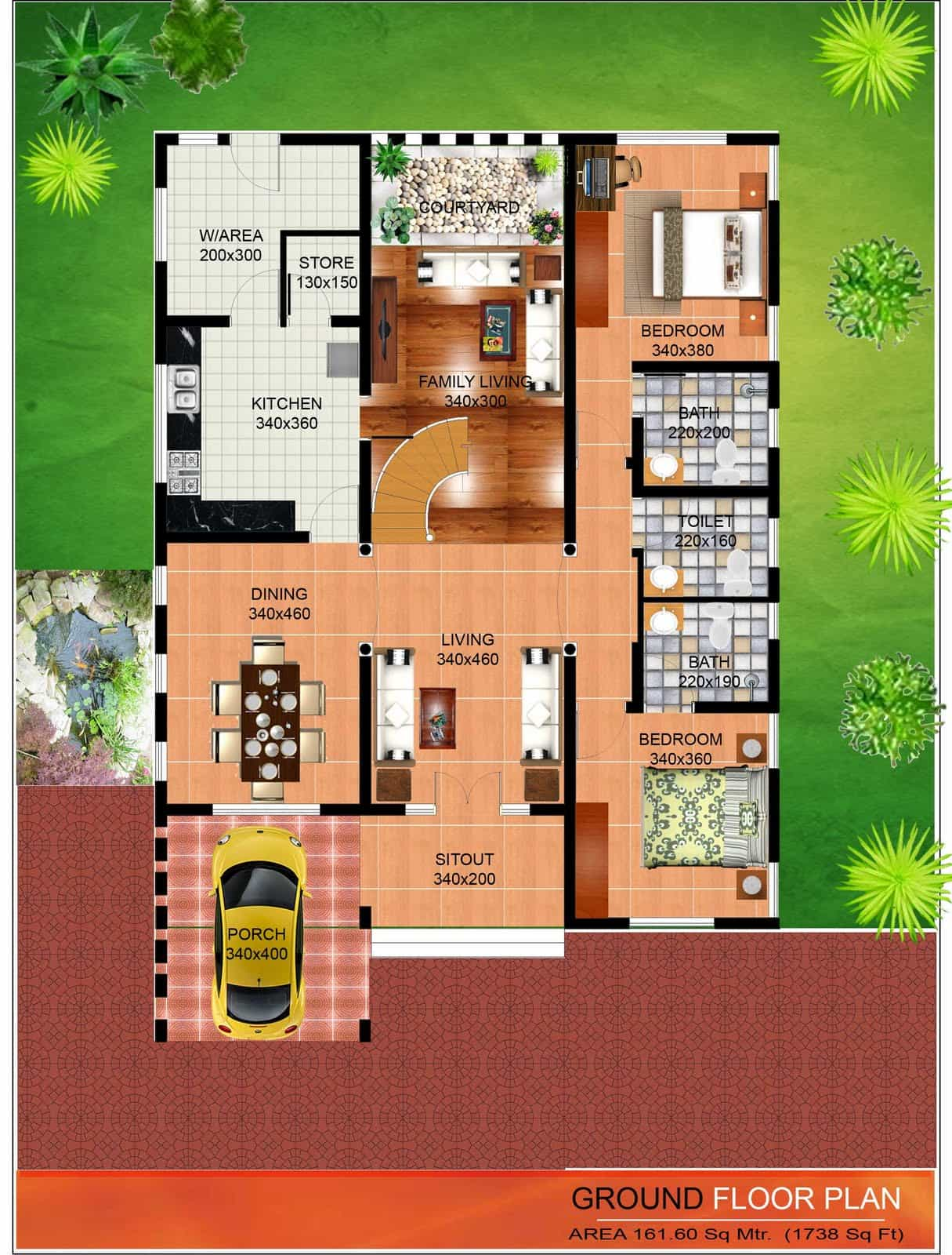 Ground Floor Elevation Colors : Latest kerala house plan and elevation at sq ft