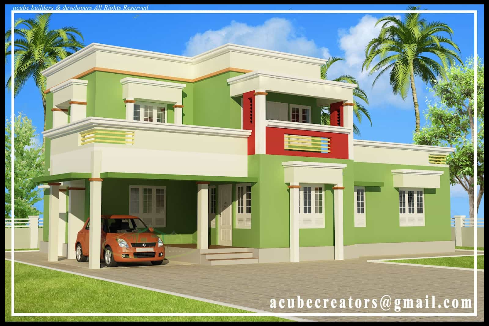 Kerala house plans with estimate for a 2900 home design for Simple house elevation models