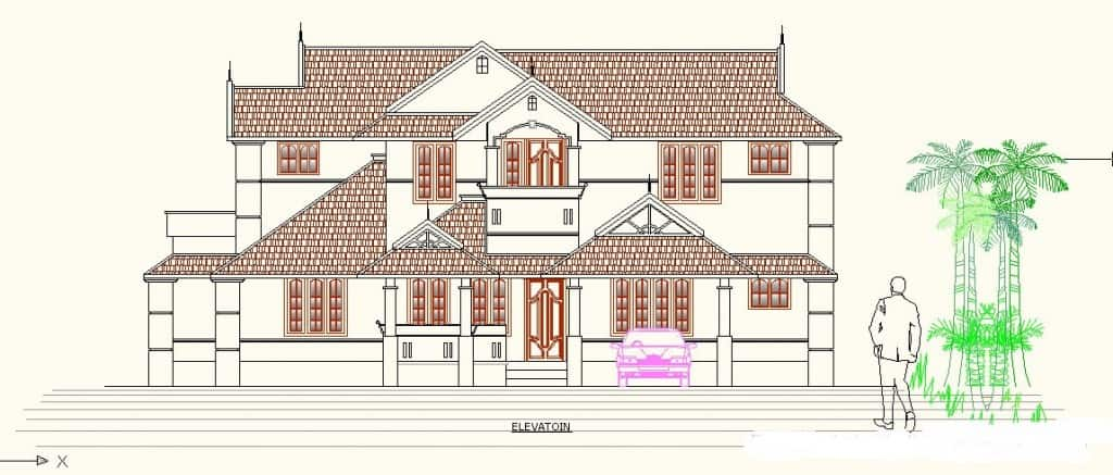 kerala house elevation at 1024x437 Kerala house plan at 2200 sq.ft 4BHK home