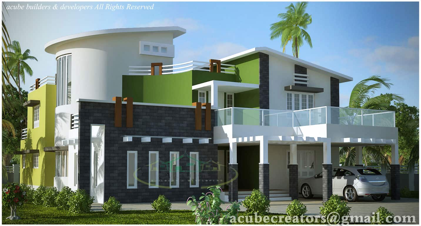 luxurious house elevation kerala
