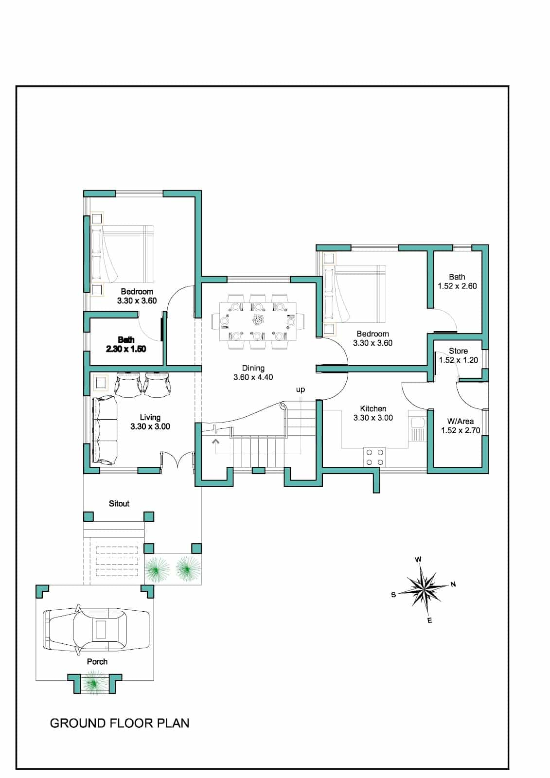 Contemporary Kerala House Plan at sq ftGround floor plan