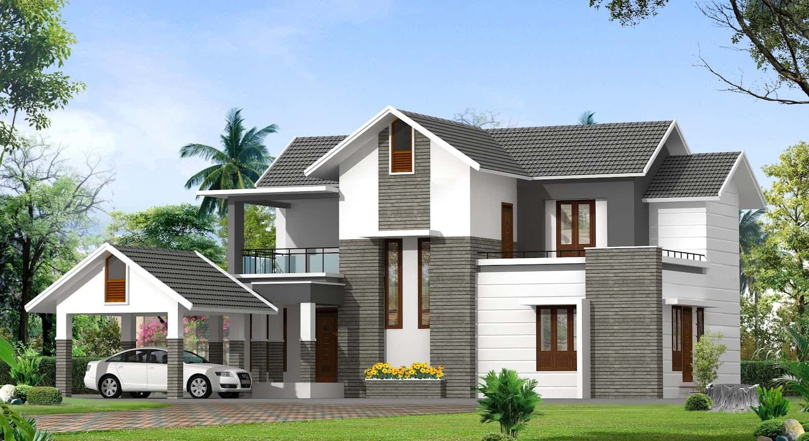 Contemporary kerala house plan at 2000 for Kerala house photos