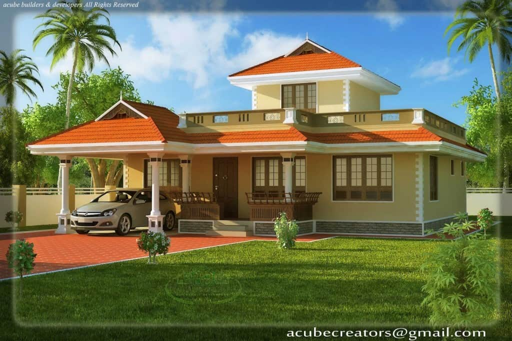 Kerala style house elevation at 1524 sq