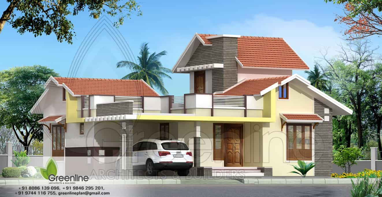Simple house elevation with floor plan joy studio design for Minimalist house design kerala