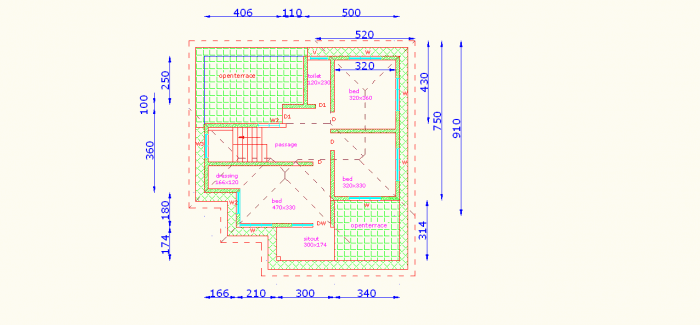 first floor plan 700x325 4 Bedroom Kerala House Plan