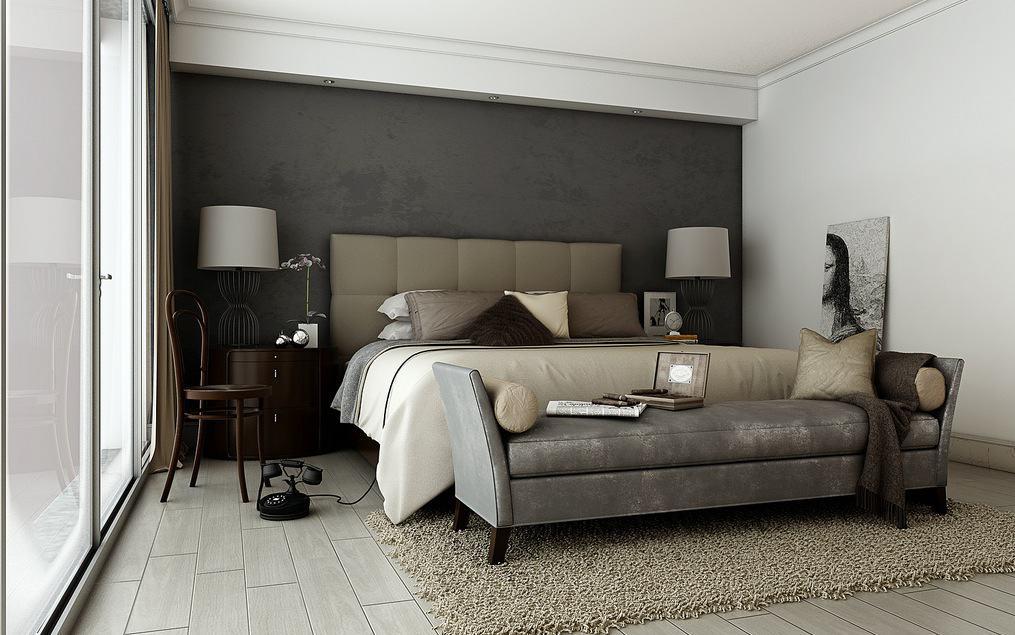Темно серая спальня дизайн