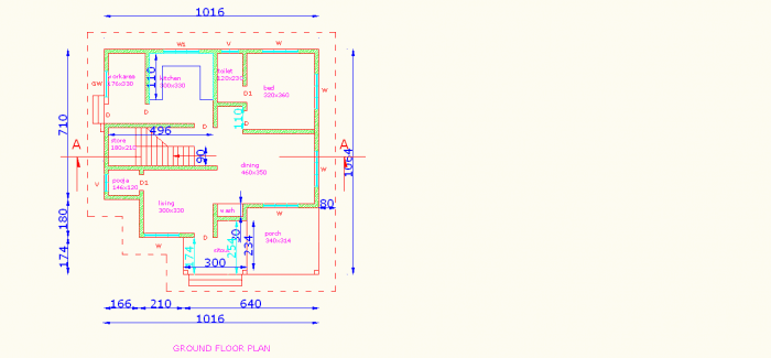 kerala home ground floor plan 700x325 4 Bedroom Kerala House Plan